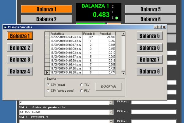 Software de pesaje PA232 con peso parcial automático
