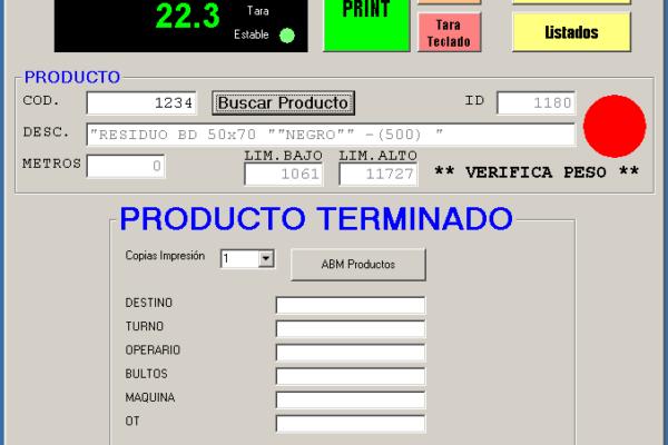 Sistema de pesaje y etiquetado en producción